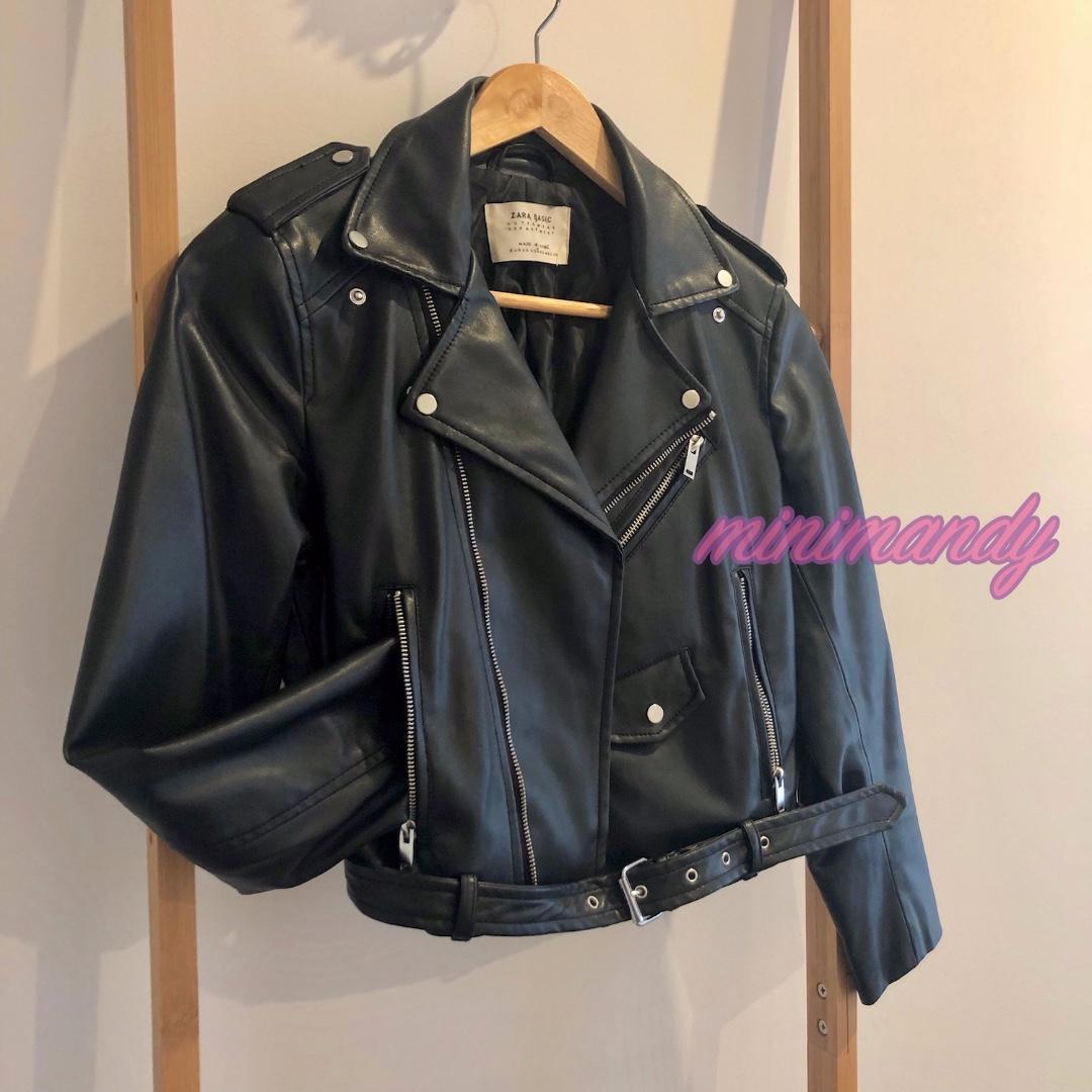 ZARA black faux leather rider jacket outwear with belt zipper rock #SundayMarket