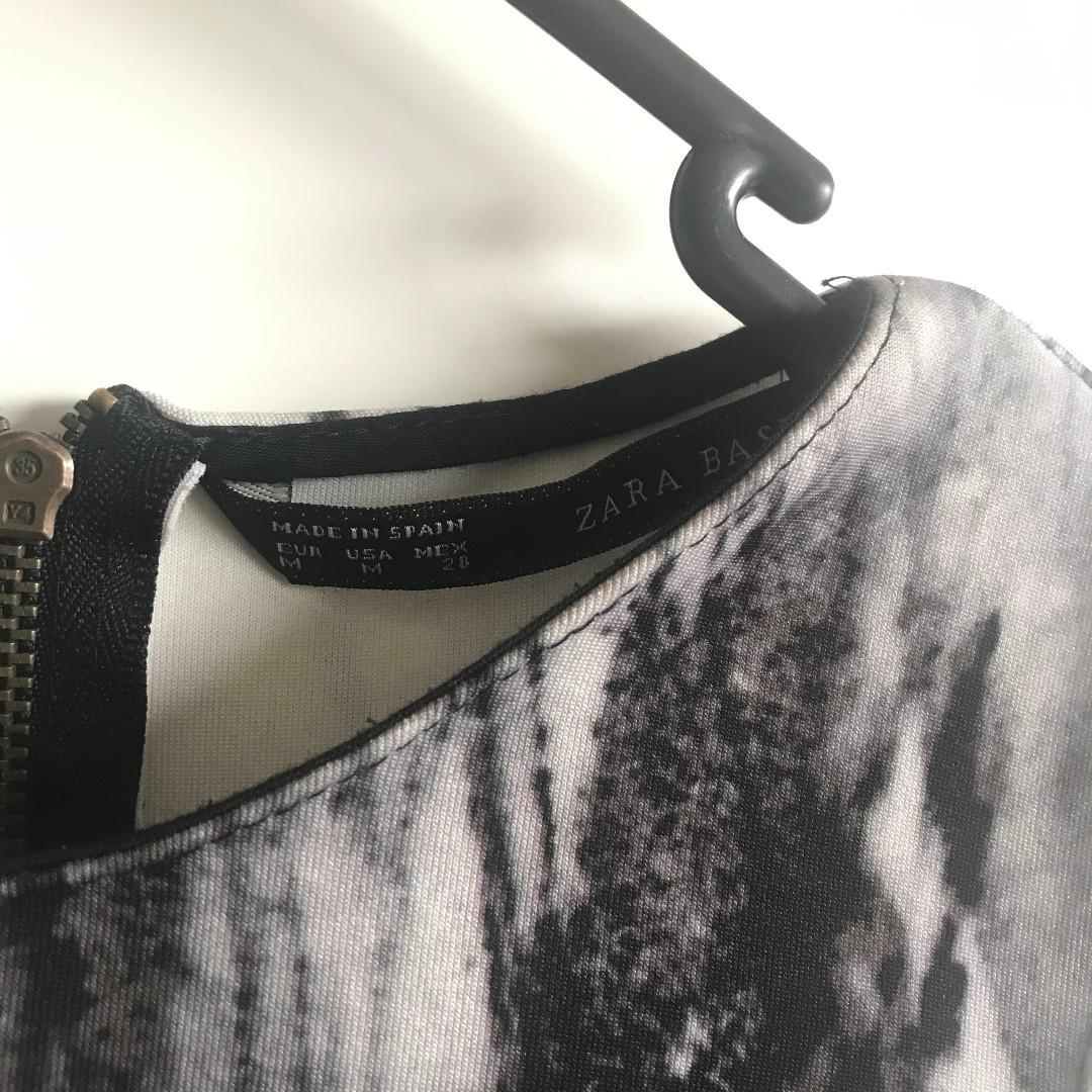 Zara Marble Back Zipper Top (Size M)