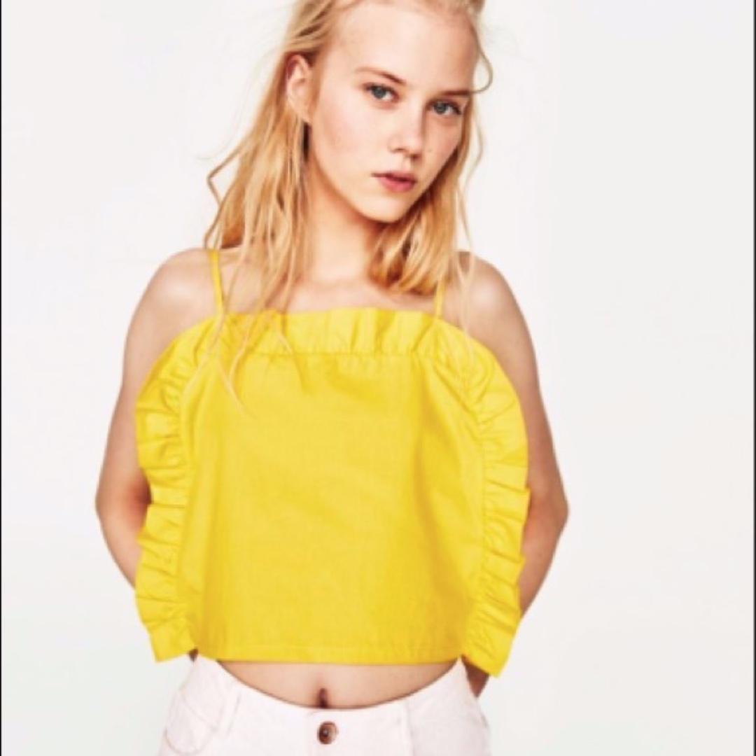 ZARA summer neon yellow ruffle crop top frills cami size M #SundayMarket