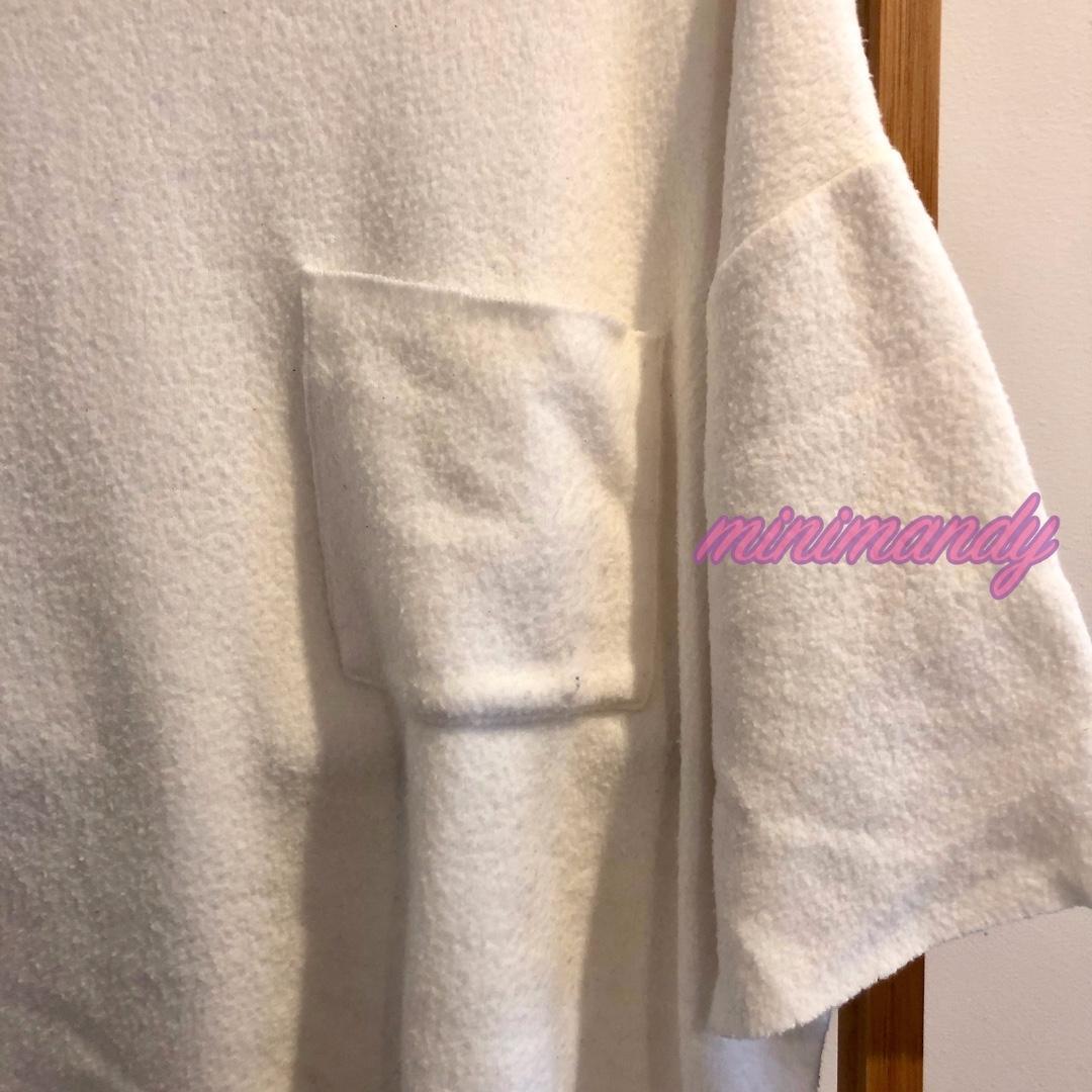 ZARA TRAFALUC oversize basic white knit top pocket tee T-shirt jumper sweatshirt M