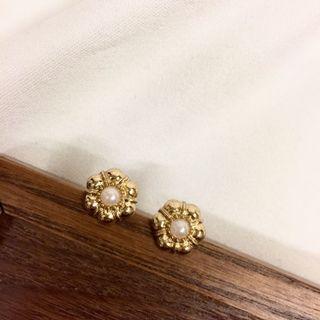 日系復古風格簡約金屬小花珍珠耳環