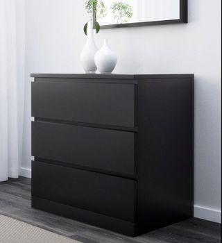 🚚 Ikea Malm Chest of 3 Drawers