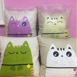 Soft cat print pillows