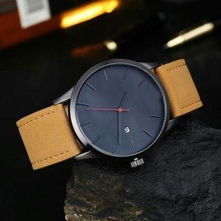 Leather date watch