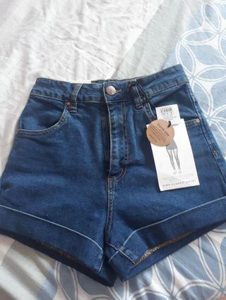 Dark Blue Cotton On HW Denim Shorts