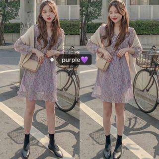 [PO] purple floral vneck dress
