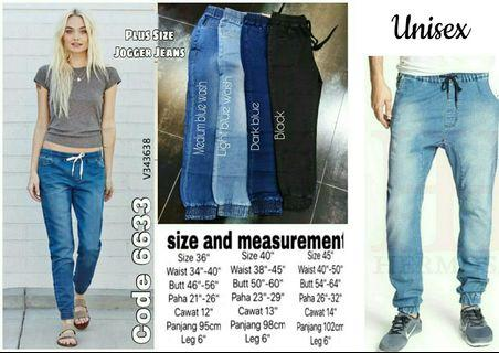 PLUS SIZE STRETCHABLE UNISEX JOGGER JEANS - instock limited