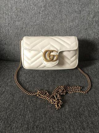 Gucci GG Marmont Super Mini Bag White 米白色