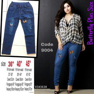 PLUS SIZE STRETCHABLE PATCHED JEANS - instock limited