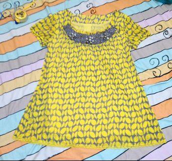 🚚 古著 黃色 雪紡 圖形滿版 短袖上衣