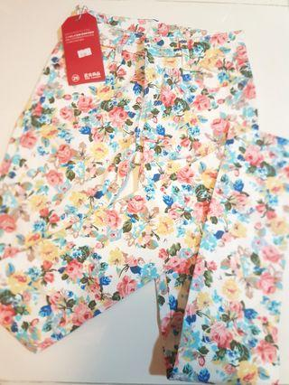 🚚 Floral long pants ladies XS or teens waist 58cm