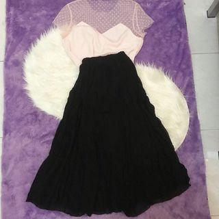 Midi Skirt Pleated Plisket Black Rok Panjang