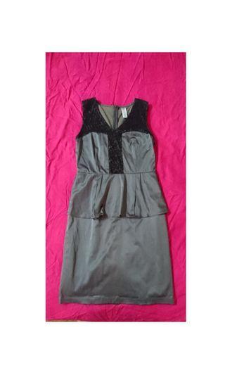 The MOD House Grey-Silver Peplum Dress #SSV8 #snapendgame
