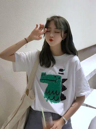 🦕恐龍造型流行短袖T恤 白色/黃色 M-2XL 春夏裝 俏皮可愛卡通印花 網紅學院女裝上衣百搭寬鬆dinosaur小宅