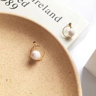 🚚 Korean Earrings - White Furry Ball