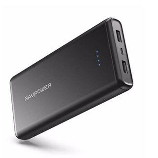 (E1109) Portable Charger RAVPower 20000mAh USB External Battery Pack Dual iSmart 2.0 USB Ports, 3.4A Max Output, 2A Input Power Bank iPhone, iPad, Galaxy Android Devices