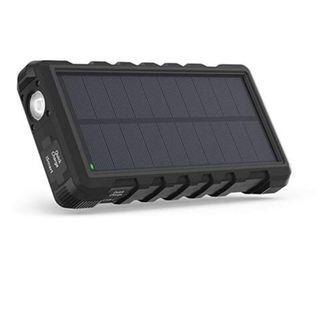 (E1104) Solar Charger RAVPower 25000mAh Outdoor Portable Charger with Micro USB & USB C Inputs, Quick Charge Solar Power Bank with 3 Outputs, External Battery Pack with Flashlight - Shock, Dust & Waterproof