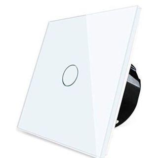 (E1095) Wallpad 8-500W Dimmer 1 Gang 1 Way Capacitive White Glass LED Lamp Touch Sensor Wall Switch
