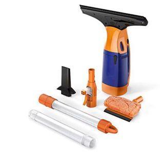 (E1090) BESTEK Telescopic Window Cleaner, Cordless Window Cleaner, Window Vac, Squeegee with Sponge, with 2 Extension Telescopic Tube, Rechargeable - Orange