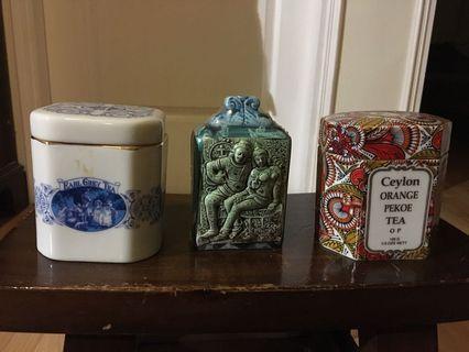 Decorative ceylon tea containers