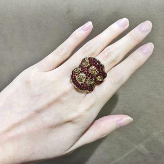 Red & Gold Ring Rhinestones