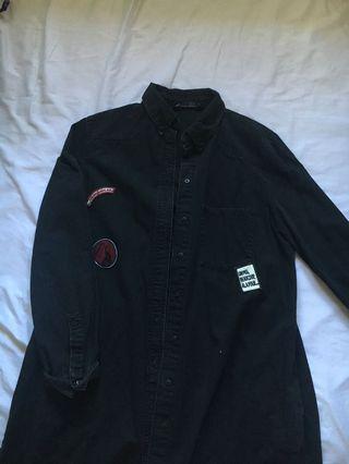 patched denim long coat