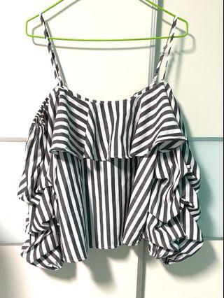 Black-grey and white stripes Off Shoulder Top