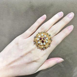 Gold Pearls Ruby Colored Ring with Rhinestones