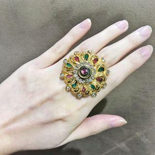 Gold Red Green Ring Rhinestones & Gems inspired