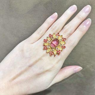 Pink Red and Gold Ring - Rhinestones Gems Inspired