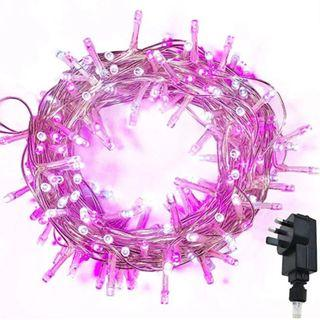 (E1074) Fairy Lights WISD 200 LED 13M Low Voltage Xmas Lights Indoor Outdoor Use, String Lights Mains with 8 Effects and Memory, Christmas Lights Decor for Xmas Tree Garden Wedding Decorations (Pink + White)
