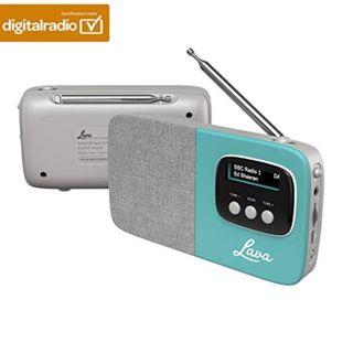 (E1072) Lava | Akoni – DAB Digital & FM Portable Radio with Bluetooth and Built-in Rechargeable Battery with Auto-Scan, LCD Screen, Headphone Jack, Fabric Grille & Premium British Design – Teal