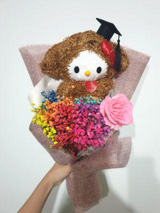 Graduation hello kitty rainbow baby breaths bouquet #EndGameYourExcess
