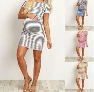 Comfortable Everyday Use Small Stripes Sleeved Bodycon Dress