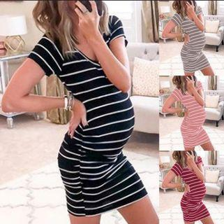 Vogue Style Wide Striped Maternity V-Neck Pencil Body-Con Dress