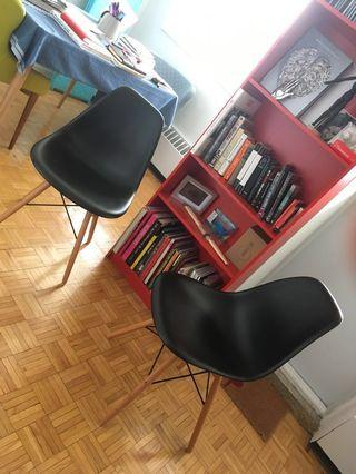 Two Eames Style - Mid Century Modern Dinning Black Chairs with Wooden Legs