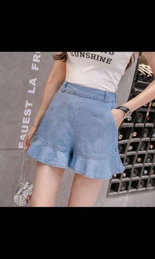 BNIB shorts with frills, soft denim, light blue colour