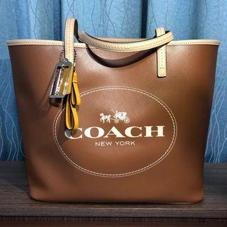 💯Authentic Coach Metro Horse Carriage Leather Tote F31315 NEW