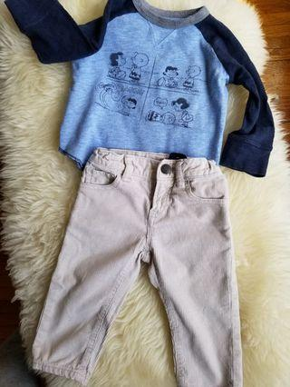 Baby Gap size 12-18mths peanuts snoopy top and corduroy beige pants. Purchased new for $29 each. Baby Gap. take each for $8 or both for $15. Pick up gerrard and main or Yorkville.