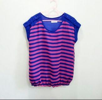 🆕️BN Striped Pink Blue Top Blouse Shirt For Ladies