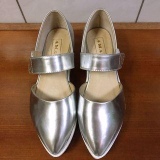 AMAI銀色厚底娃娃鞋