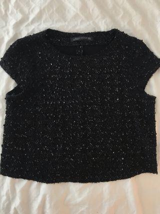 Zara black sparkly crop top