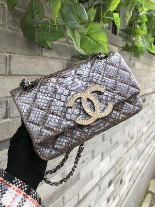 be2a951c0c11 Chanel Python Leather Classic Flap Limited Edition