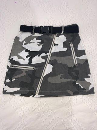 Black & White Camo Mini Skirt