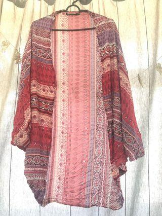 Pink Boho Kimono Cardigan