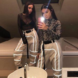 High Waisted Reflective Line Pants