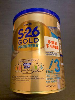 惠氏S26 s-26 gold 3 400g 奶粉 平衡車 美贊臣 尿片 marries pampers 能恩 奶嘴 bb床