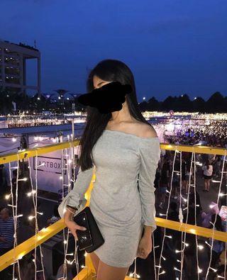 🚚 Grey Off Shoulder Dress