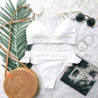 White triangle swimsuit bikini