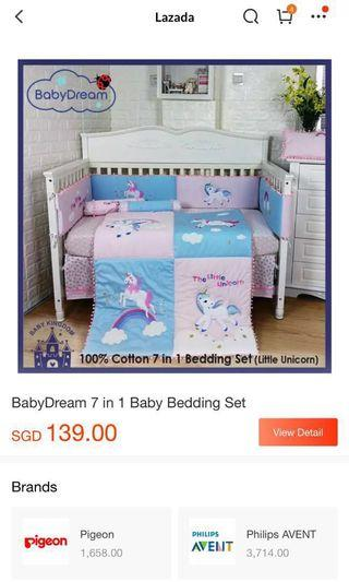 BabyDream Unicorn 7pcs Crib Set (Baby Turquoise & Pink colour)